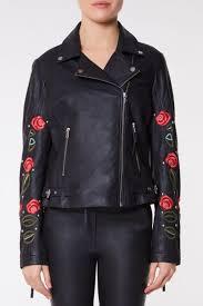 elvira genuine leather jacket with roses 1