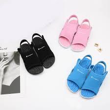 Boys Designer Sandals Kids Designer Sandal Champion Letters Brand Sandals Summer Girls Boys Flat Sandals Children Beach Outdoor Leisure Shoes Slipper 24 35 C52506 Cute Kid