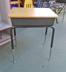 vintage school desk with storage cubby