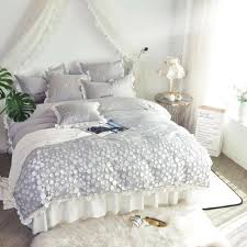 princess style 60s egyptian cotton bedding set embroidered solid color grey blue bedskirt ruffle duvet cover king queen bedroom duvet covers duvet cover