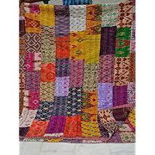 Amazon.com: Queen Size Patchwork Silk Kantha Quilt 90x108 Inch ... & Patola Silk Patch Work Kantha Quilt , Kantha Blanket Bedspread, Patch Kantha  Throw, King Adamdwight.com