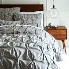 pintuck duvet cover king size organic cotton shams feather gray