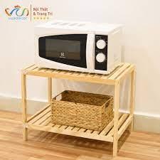 Kệ lò vi sóng 2 tầng VUADECOR kệ đa năng nhà bếp phong cách Hàn Quốc gỗ  thông tự nhiên chính hãng 209,000đ