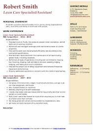 Lawn Care Specialist Resume Samples Qwikresume
