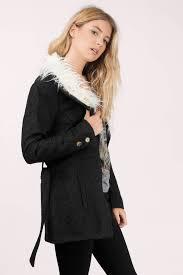 black florence faux fur collar coat tobi