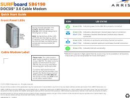 Arris Sb6190 Online Light Blinking Arris Sb6190 User Manual Sb6190 Quick Start Guide Qsg V1