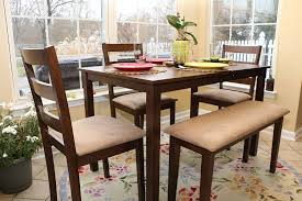amazon 5pc dining dinette table chairs bench set walnut finish 150237 table chair sets