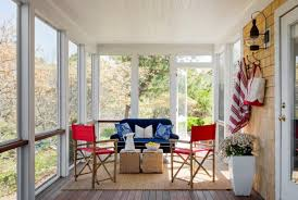 sun porch furniture ideas. Blue Couch And Decorative Pillows For Couches With Sun Porch Decorating Ideas Plus Red Directors Chairs Furniture
