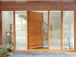 contemporary style oak front door with full glazed side panels