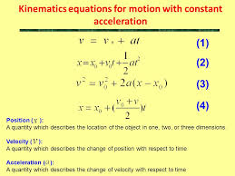 2 kinematics equations for motion with constant acceleration 1 2 3 4 position a quantity which describes the location of the object in one