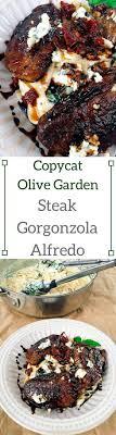 a replication of the olive garden dish balsamic marinated steak tops a creamy parmesan and copycat steak gorgonzola alfredo