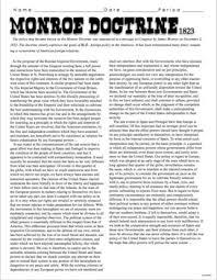monroe doctrine worksheet switchconf monroe doctrine primary source worksheet by burt brock s big ideas