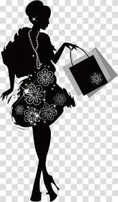 Fashion Girl Shopping Girl Woman Holding Two Bags Illustration