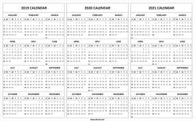 3 Year Calendar Printable 3 Year Calendar 2019 To 2021 Swifte Us