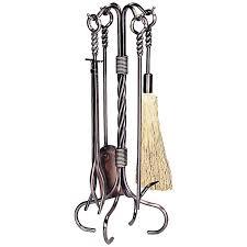 uniflame twist ring handle fireplace tool set 90 19 hayneedle
