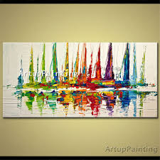 canvas painting acrylic boat sailing abstract painting wall art picture for living room home decor quadros caudros decoracion 01 in painting calligraphy