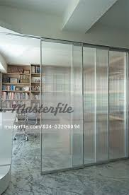 office sliding door. Sliding Glass Door To Modern Home Office - Stock Photo R