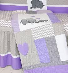 crib blanket elephant baby boy bedding gray purple quilt