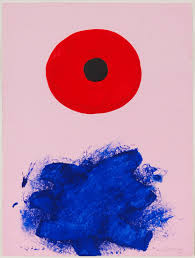 1967 red halo acrylic on paper