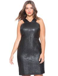 quilted faux leather dress