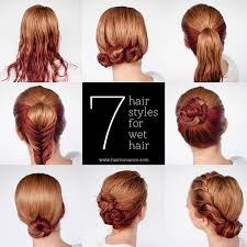 easy hairstyle tutorials for wet hair