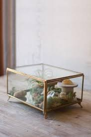 kalalou antique brass glass box with feet s glass display box