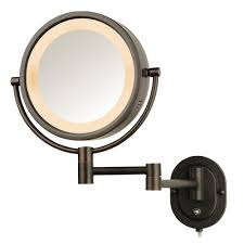 Jerdon 5X Halo Lighted 13 in. L x 9 in. W Wall Mount Mirror in ...