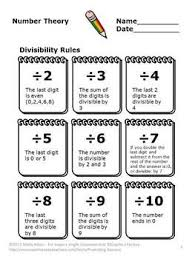 Divisibility Rules Chart Pdf Divisibility Rules Activities 4th Grade Math Review Games