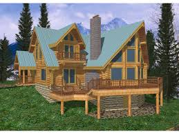multi level a frame log home with large outdoor deck