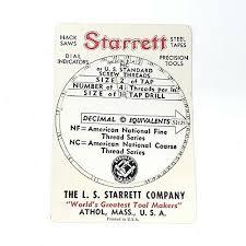 Nc Tap Chart Vintage 1943 L S Starrett Co Decimal Screw Thread Tap Tpi Wheel Chart Card Tool Ebay