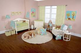 baby bedroom inspiring animal nursery room large area round creamy rugs three pillows pink wall color
