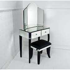 Modern Dressing Table Designs For Bedroom Rustic Brown Wooden Frame Trifold Mirror Dressing Table With White