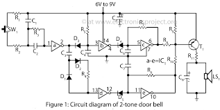 2 tone door bell electronics project circuit diagram ground circuit diagram of door bell
