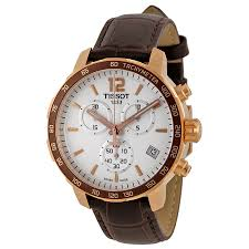 tissot quickster chronograph white dial brown leather mens watch zoom