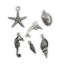 antique silver plated pewter sea life charms set of 6 whole jewelry charms and findings