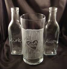 wedding sand unity set rustic personalized for the bride and groom custom etched glass
