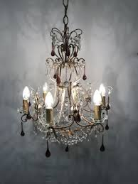 vintage crystal beaded chandelier with murano glass pendant drops 2