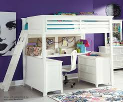 Bedroom: Astounding White Full Size Loft Bed Design With Stairs For Girls  Purple Bedroom Furniture