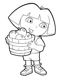 Kleurplaten Paradijs Kleurplaat Dora Met Een Mand Appels