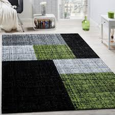 designer rug modern short pile checks and rectangles mottled grey black green
