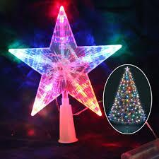 Mobestech 2 Stück Weihnachtsstern Baumspitze Batteriebetriebene Led Leuchtende Weihnachtsbaumspitze Pentagramm Baumspitze Für Weihnachten Party