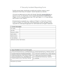 System Incident Report Template Examples Of An Incident