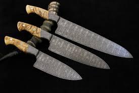 Set Of 3 Tsunami Damascus Custom Kitchen KnivesCustom Kitchen Knives