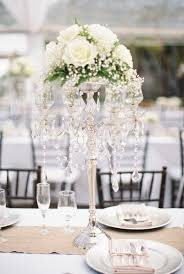 spring wedding centerpieces a classic crystal candelabra with white roses