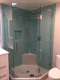 bed bath subway tile shower with glass enclosure neo angle
