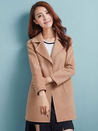 women wool coats pink overcoat long sleeve pockets winter coats no 2