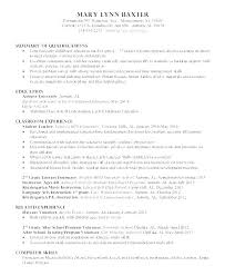 Early Childhood Education Resume Impressive Sample Resume For Early Childhood Teacher Sample Resume For A