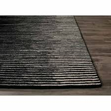 rugs hand tufted stripe pattern black gray wool area rug white