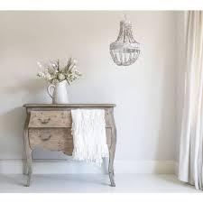 white wooden ceiling light beaded chandelier
