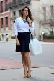 13 stylish and professional outfits to wear on a job interview interview outfit idea white top black skirt statement necklace corporate catwalk